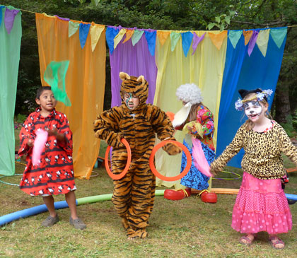 Circus campers performed juggling acts, clown skits, and feats