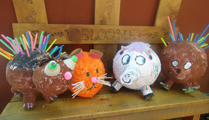 Campers had fun creating paper maché porcupines, pigs, cats